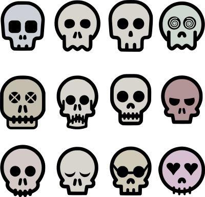 12 cartoon skulls